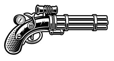 Ilustração em vetor de revólver no estilo steampunk
