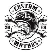 Projeto do t-shirt do motociclista da águia (versão monocromática)