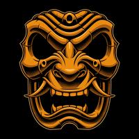 Máscara de guerreiro samurai (versão colorida) vetor