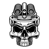 Ilustração preto e branco do crânio do vape.