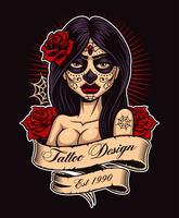 Garota de tatuagem de chicano vetor