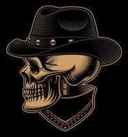 Ilustração do vintage do crânio do cowboy no chapéu com bandana.