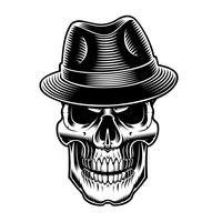 ilustração preto e branco do vintage sull no chapéu.