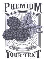 Rótulo vintage de blackberry vector
