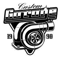 Emblema vintage com turbocompressor.
