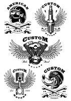 Conjunto de 5 ilustrações de motociclista vintage em background_1 branco
