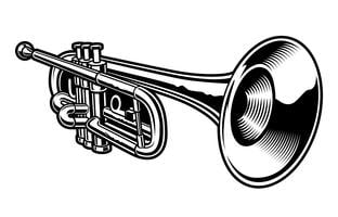 Ilustração do vetor da trombeta preto e branco.