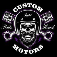 Crânio de motociclista com barba e pistões cruzados. vetor