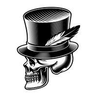 Vetorial, ilustração, de, um, cranio, em, cilíndrico, chapéu