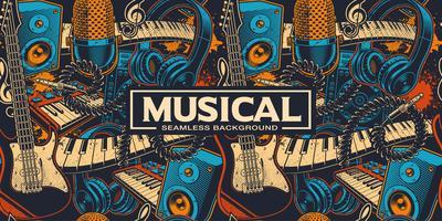 Fundo musical sem costura com diferentes insrtuments vetor