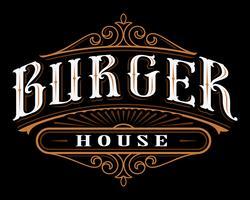Rótulo vintage de hambúrguer.