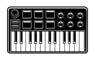 Ilustração a preto e branco de sintetizador vetor