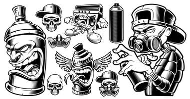 Conjunto de caracteres de grafite preto e branco. vetor
