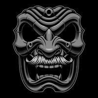 Máscara samurai com mustahce.