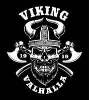 Crânio Viking com machados vetor
