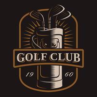 Clubes de golfe vector logo em fundo escuro