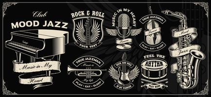 Conjunto com design de vetor vintage de instrumentos de música.