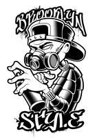 Monocromático de artista de graffiti