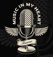 Microfone vintage com asas e fita no estilo de tatuagem