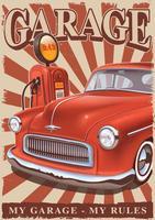 Poster vintage com carro clássico e velha bomba de gasolina. vetor