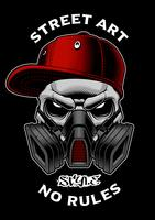 Crânio de graffiti com máscara de gás.