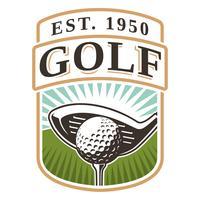 Emblema com taco de golfe e bola