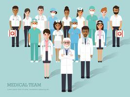 Grupo de médicos e enfermeiros e equipe médica. vetor