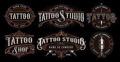 Conjunto de emblemas de tatuagem vintage (versão para fundo escuro)