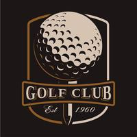 Logotipo de vetor de bola de golfe em fundo escuro