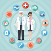 Médicos com ícones médicos.