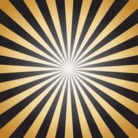 Raios de raios de sol abstratos ouro sobre fundo escuro - ilustração vetorial