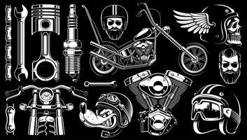 Clipart de motocicleta com 14 elementos em fundo escuro. vetor