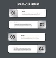 modelo gráfico da informação da placa de metal com 4 opções. Pode ser usado para web, diagrama, gráfico, apresentação, gráfico, relatório, passo a passo infográficos