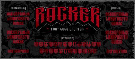 Rocker exibir o criador de logotipo de fonte no fundo escuro vetor