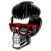 Crânio de barbeiro com cabelo da moda vetor