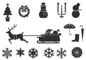Pacote de escova de inverno e natal vetor