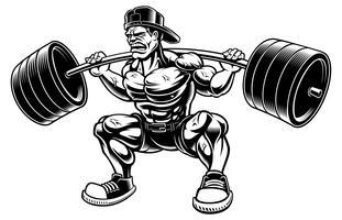 Ilustração em vetor de fisiculturista fazendo agachamentos com barra