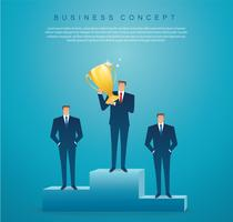 empresário segurar o vencedor de sucesso do troféu de ouro. conceito de negócios