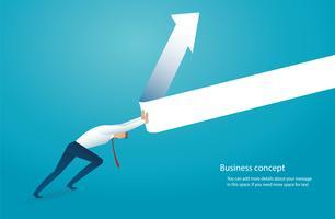 empresário tenta levantar a seta conceito de negócio vetor