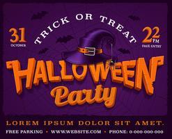 Cartaz de festa de Halloween com letras de abóbora e chapéu de bruxa.