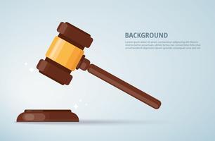 julgue o fundo do martelo de madeira. conceito de justiça. vetor