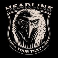 Ilustração preto e branco da cabeça de águia vetor