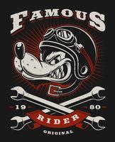 Ilustração de motociclista de lobo