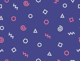 Forma geométrica abstrata doodle padrão no fundo azul - ilustração vetorial