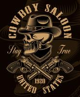 Ilustração a preto e branco do crânio de cowboy com armas de fogo cruzadas