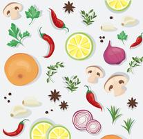 tempero e alimentos vegetais fundo vetor