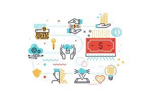 Ilustração do conceito de Fintech (tecnologia financeira) vetor