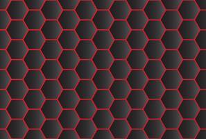 Padrão sem emenda de fundo abstrato hexágono preto com linha vermelha vetor