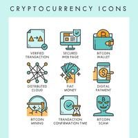 Ilustrações de conceito de ícones de criptomoeda vetor