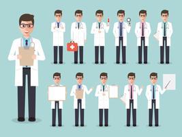 Conjunto de jovem médico, equipe médica. vetor